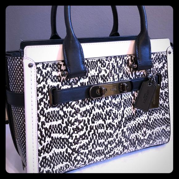 Coach Handbags - Coach Color-block 27 Swagger in genuine snakeskin